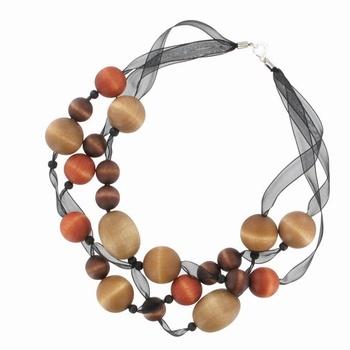 aarikka Lilja necklace with sheer ribbon and wood beans