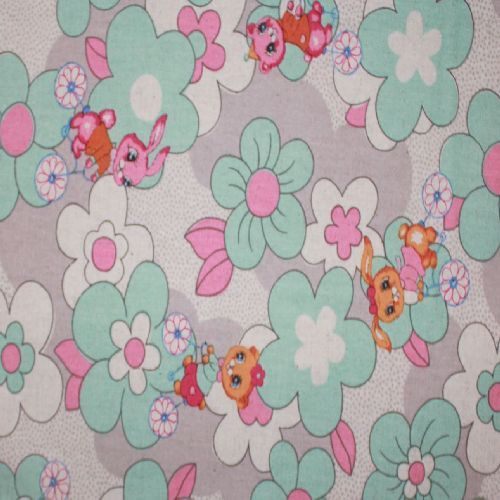 Rabbits and Flowers aqua Quilt fabric