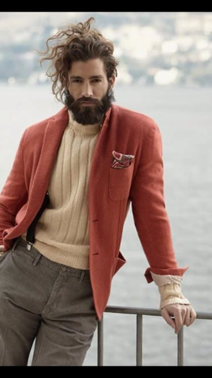 "loveshetlands: ""Wool sweater, sports coat wavy hair and beard. And suspenders. """