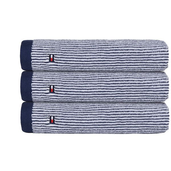 Tommy Hilfiger Navy Milleraies Towel - Hand Towel (£26) ❤ liked on Polyvore featuring home, bed & bath, bath, bath towels, blue, stripe bath towels, blue hand towels, navy blue hand towels, embroidered bath towels and striped hand towels