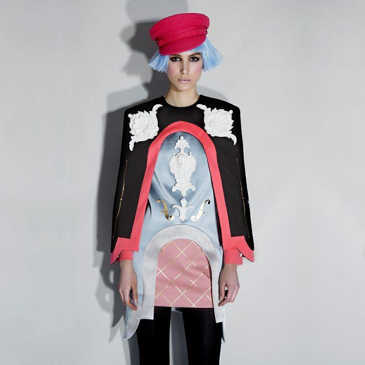 "Lovely MIJO, Mina Mihaljcic wearing ANA LJUBINKOVIC ""Army Dreamers"" FW 14/15 collection / photo MILOS NADAZDIN / hairstylist Olivera Milicevic for O`livio Unisex Hair Salon & Cosmetics / makeup Sanja Grbic / all clothes & shoes Ana Ljubinkovic #ana_ljubinkovic #mijo # milosnadazdin #armydreamers #FW14 #belgrade #fashion #kitsch #ornaments #belgradefashionweek"