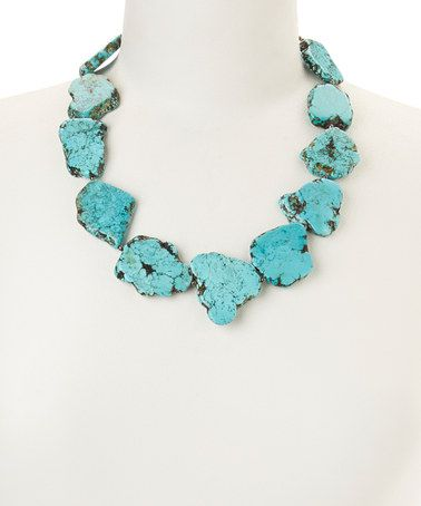 Another great find on #zulily! Turquoise Howlite Slab Beaded Necklace #zulilyfinds