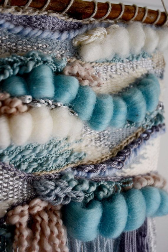 Serene Blue Hand-woven Wall Hanging by WallflowerWeavings on Etsy