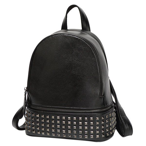 Stylish Women's Satchel With Rivet and PU Leather Design