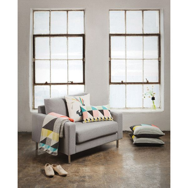 Gullfuglen - Sekken (The Sack) cushion - Multicoloured print, dark grey backside with invisible zipper. 30 x 50 cm SIZE: 30 x 50 cm