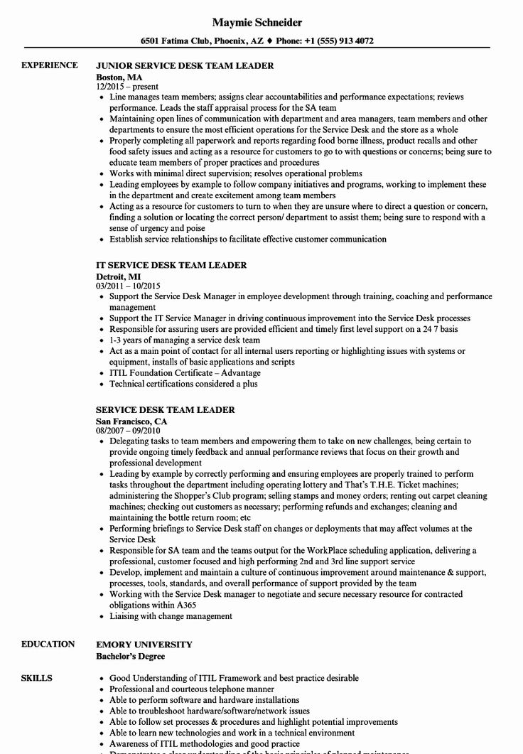 Help Desk Job Description Resume Elegant Service Desk Team