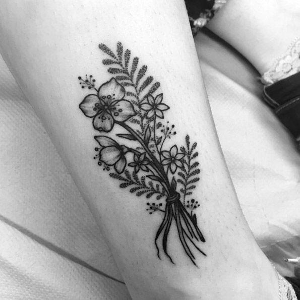 Gorgeous blackwork floral bouquet by Clara Welsh