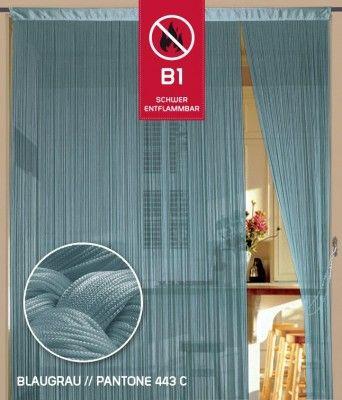 Fadenvorhang 090 cm x 240 cm (BxH) blaugrau in B1 schwer entflammbar Fadenvorhänge Fadenvorhang B1, schwer entflammbar Fadenvorhang Brandschutz B1 bis 0,9 m