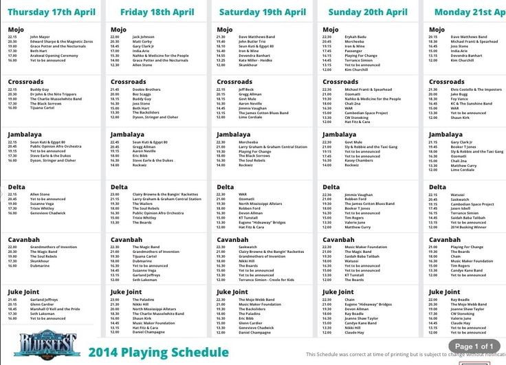 Bluesfest 2014 # 18 - Playing Schedule
