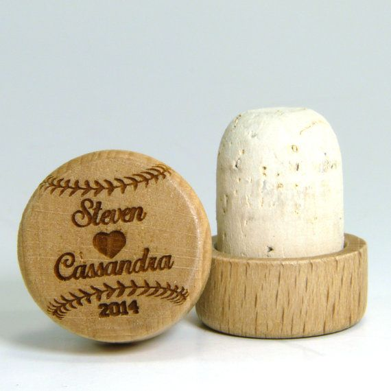 Engraved baseball wedding favors (wine stoppers) are darling favors for sports enthusiasts. Or choose football, hockey, even cross fit designs.