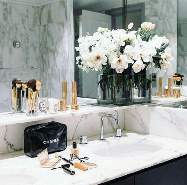 Marble bathroom mirror white flowers chanel makeup brushes pretty goals