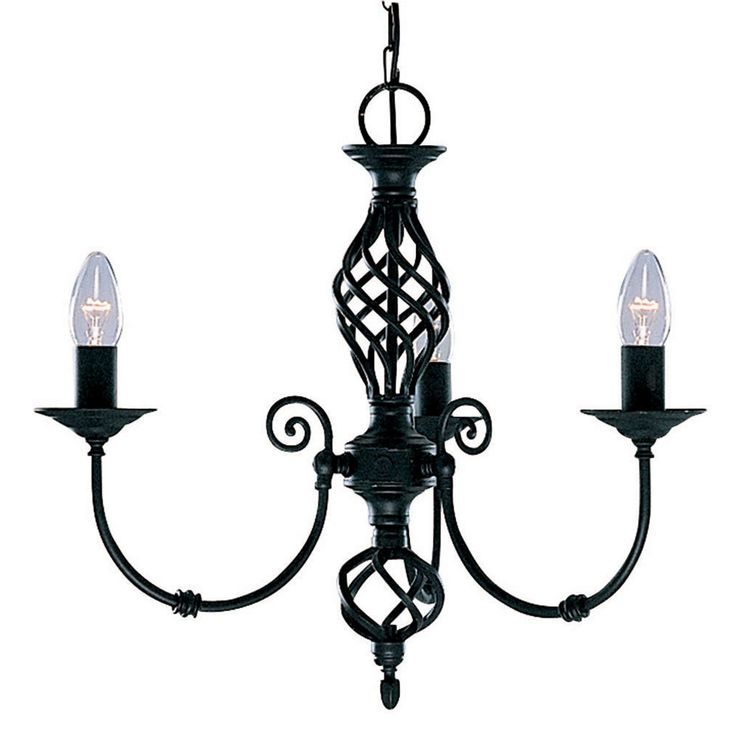 Zanzibar Black 3 Light Fitting With Ornate Twisted Column