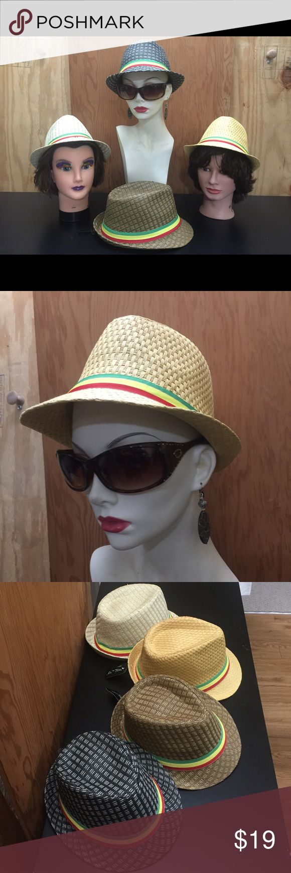 Rasta Fedora Hat Elegant unisex Rasta Fedora hat 🎩 light weight & making a statement without a word. For them lazy, hazy days of summer. Designed in Italy 🇮🇹 Rasta style two tone, 100% Straw Fedora. Check out other colors and sizes in my closet. (Beige) Milani Accessories Hats