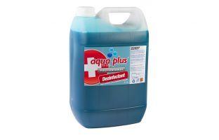 Aqua Plus dezinfectant / dezincrustant  Soluție sanitizantă pentru dezinfectarea pardoselilor. Produsul este un dezincrustant cu proprietăți acide, special conceput pentru îndepărtarea depunerilor de calcar și rugină din WC-uri, baterii de apă, căzi, faianță.