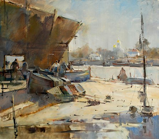 """Boat makers, Danube"", by Eugen Chisnicean Oil ~ 65cm x 75cm"