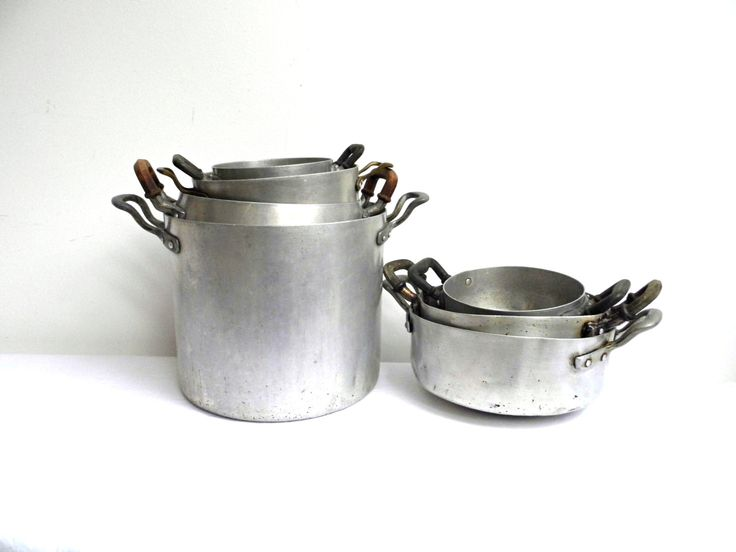 Vintage Aluminum Pots Set Stockpot Kitchenware Rustic Container Large Silver Canister Bucket Enamelware Primitive Metal Planter Farmhouse by WoodHistory on Etsy