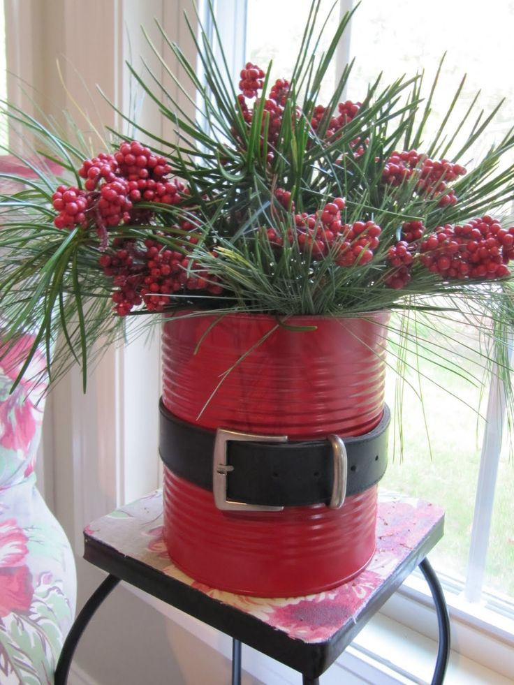 Santa Claus Can Coffee Can Red Spray Paint Old Black Belt Some Fresh Evergreens From Outside