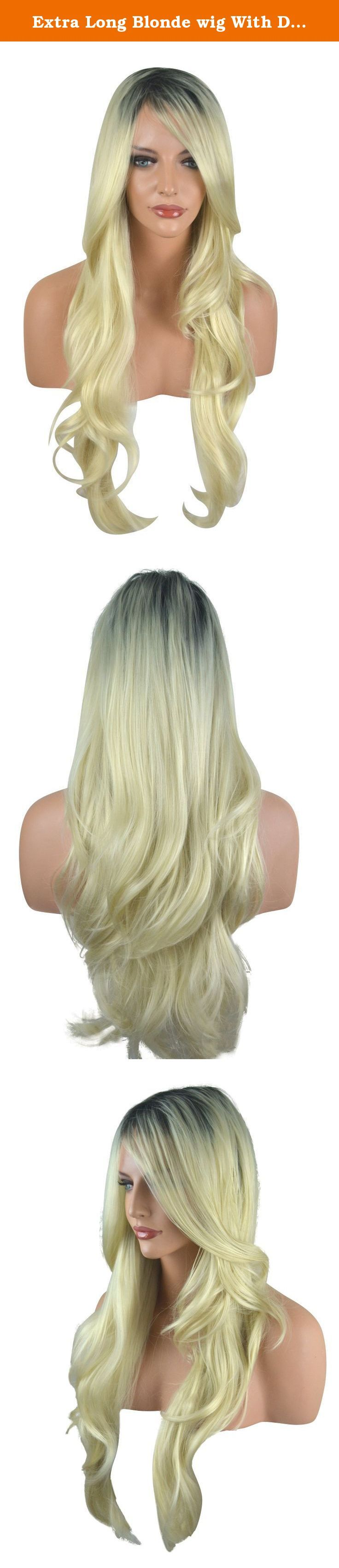 Extra Long Blonde wig With Dark Roots. Platinum Blonde, Dark Roots, Realistic look and feel, Approx. 26 inches, Comfy Cap fit.