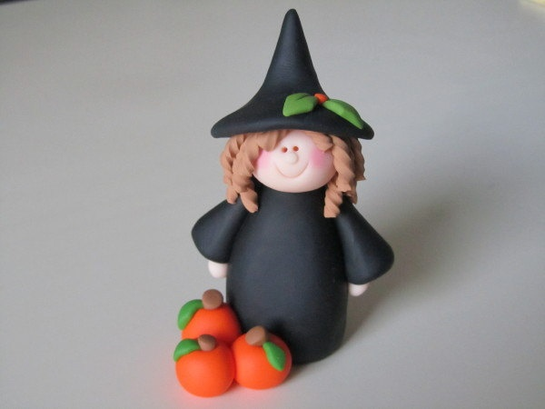 Polymer Clay Halloween Witch and Pumpkins. $12.50, via Etsy.