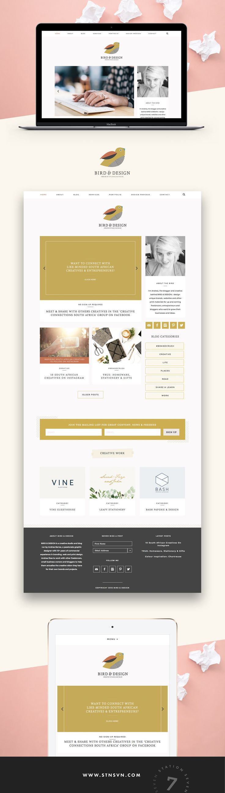 Bird & Design Creative Studio and Blog running on Station Seven's Kindred WordPress theme! She created a minimal, user friendly site.