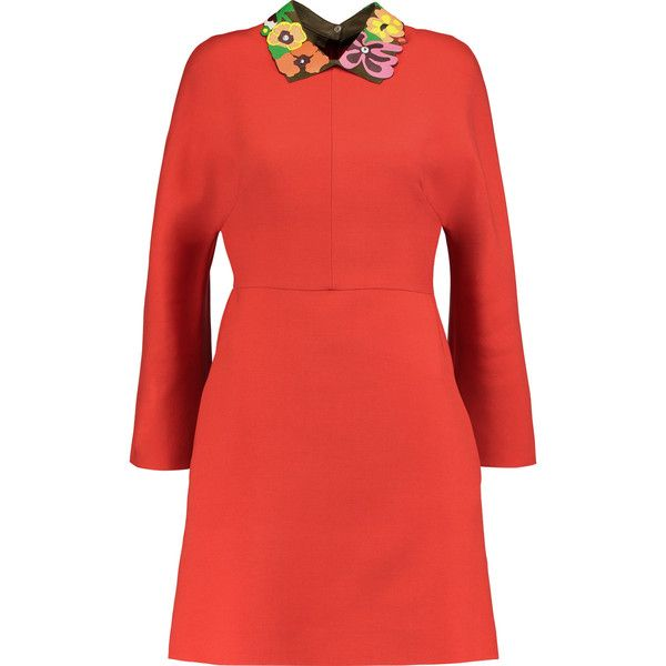Valentino Leather and suede-trimmed wool-blend mini dress ($1,145) ❤ liked on Polyvore featuring dresses, orange, multi-color dresses, red zip dress, orange mini dress, multi color dress and leather dress