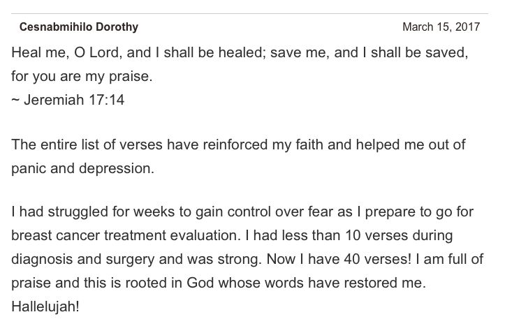One of my favorite comments that someone has left on my 40 Bible Verses for Healing blog post. Thank You, Jesus!! http://drericz.com/bible-verses-for-healing/