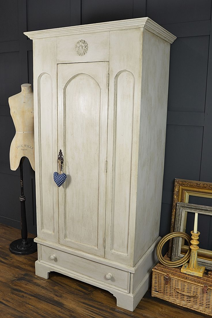 This Pretty Single Wardrobe With Flower Detail Has Been Painted In Farrow &  Ball Shaded White