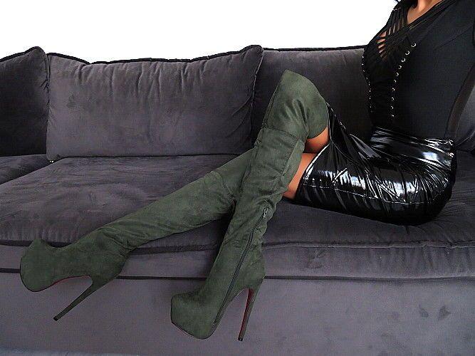 Overkneestiefel Damen Schuhe Plateau Stiefel R22 Overknee Boots Sexy High Heels