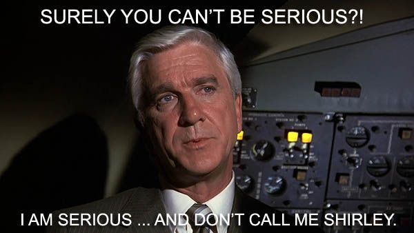 Leslie Nielsen as Dr. Rumack in AIRPLANE (1980)
