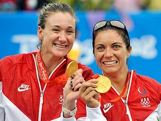 Kerri Walsh and Misty May Treanor Strike Gold at 2008 Olympics in Beach Volleyball - www.london2012.com #volleyball #olympics #london2012