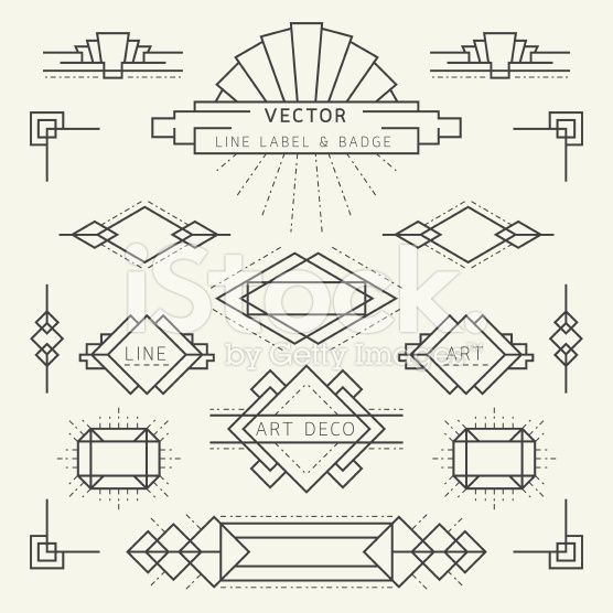 Art Deco Style Line and Geometric Labels and Badges Monochrome royalty-free stock vector art                                                                                                                                                                                 More