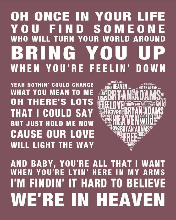 Bryan Adams Heaven Music Song Lyrics Word Art Print Poster W In 2020 Songteksten Film Muziek