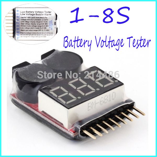 for 1-8S Lipo/Li-ion/Fe Battery Voltage 2IN1 Tester Low Voltage Buzzer Alarm Worldwide sale //Price: $3.19 & FREE Shipping //     #RChelicopter