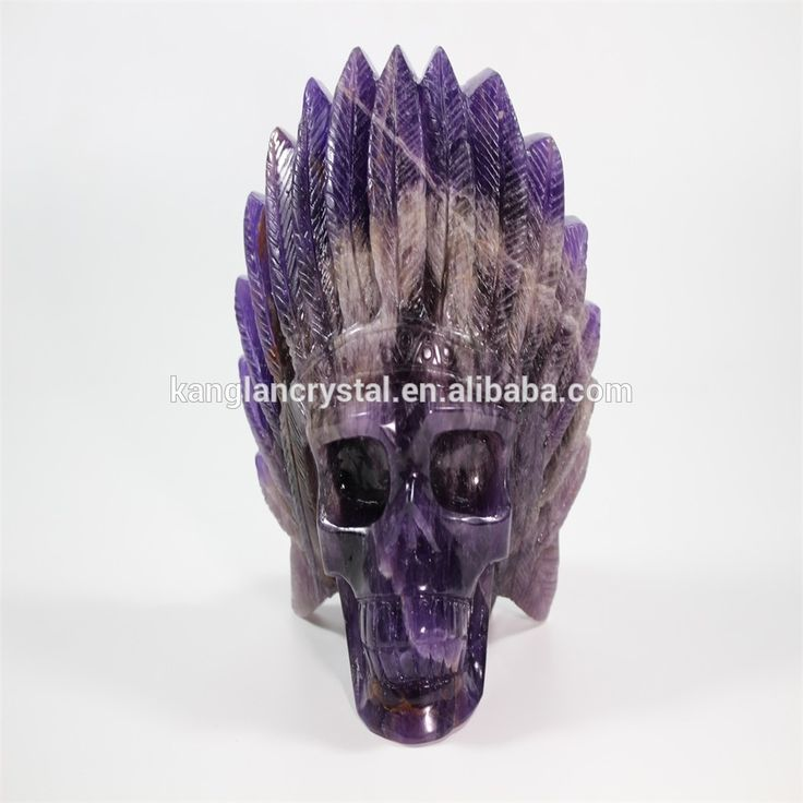 Exquisite Indiana man modeling fantasy amethyst crystal skull for sale
