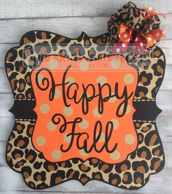 Fall Door Hanger: Leopard Print Sign by SparkledWhimsy on Etsy