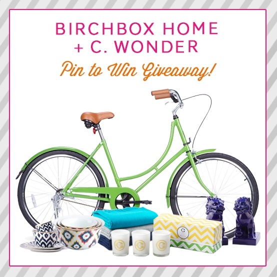 Enter for a chance to win this collection of C. Wonder home decor items plus their too-cute City Bike - and ride into 2013 in style! Click through for more details. https://www.facebook.com/BirchboxMonthly/app_193687177443172?ref=ts