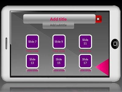 there are 6 main menu, which is integrated with our combination of Custom Animation, and Hyperlinks. If one of the main menu is clicked, it will appear blank sheet (2 blank sheet), which can be filled with your presentation materials. Besides, these templates full Custom Animation, also adorned with Shapes that we customize the background 'modern phone'. Where, tablet pc technology also is becoming a trend nowadays.