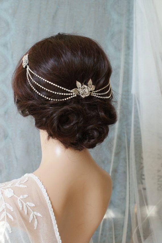 Vestido de Novia de pelo cadena de cristal de casco por AgnesHart