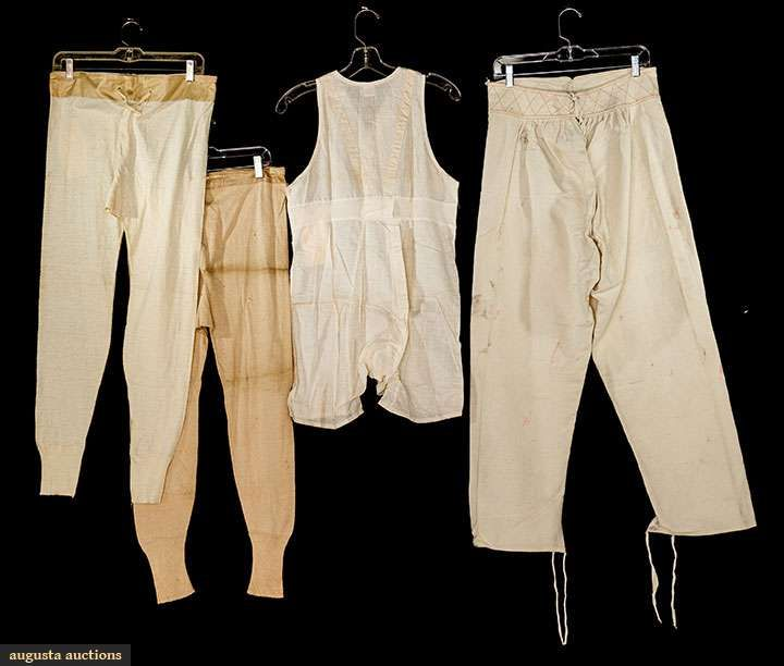 4 PIECES MEN'S COTTON UNDERWEAR, EARLY 20TH C 2 pair knit long johns; 1 pair waffle weave pant liners & 1 undershirt-shorts combination