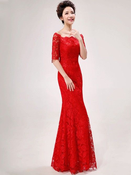 Red Lace Off-shoulder Floor-length Cheongsam / Qipao / Chinese Wedding Dress