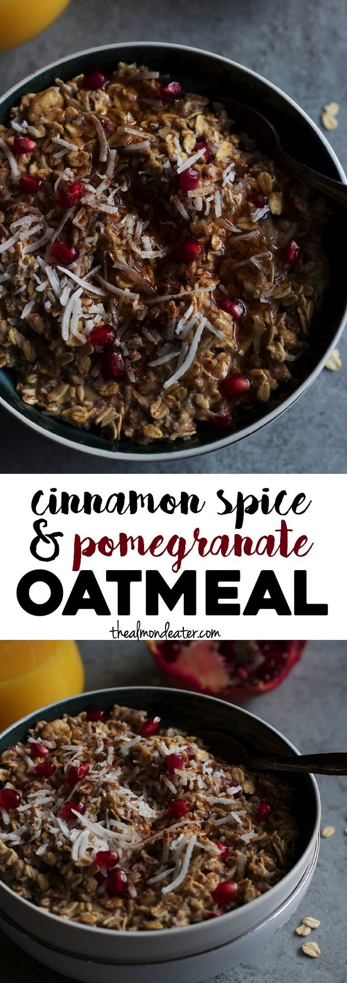 Warm oats filled with cinnamon and then topped with shredded coconut and pomegranate seeds. A sweet and healthy breakfast that's ready in just 5 minutes!