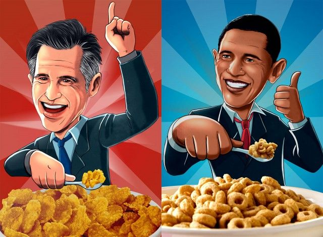 Cerealize offers: Romney Flakes vs. Obama O's