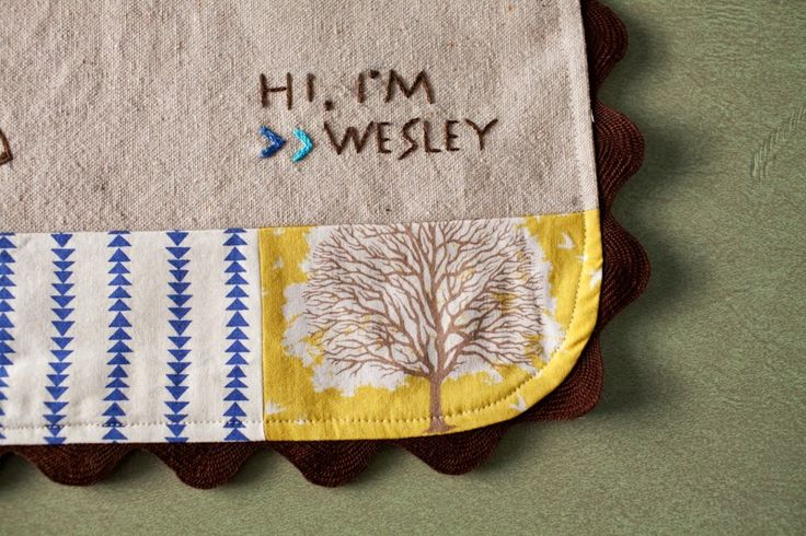 baby quilt...love the 'hi, i'm wesley'