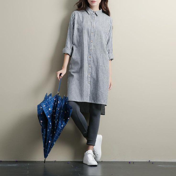 Де Голубь женские большие ярдов свободные синий и белый полосатый хлопка с длинными рукавами рубашки blusas женские рубашки женские рубашки купить на AliExpress