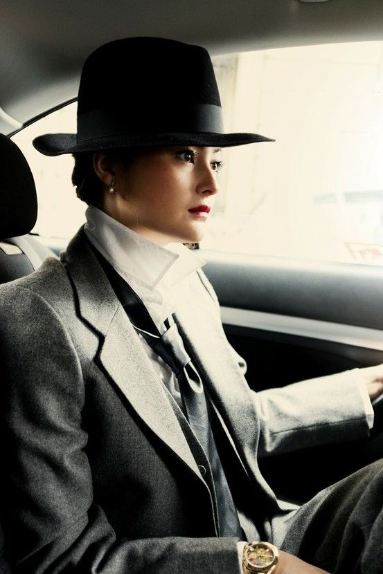 Peony Lim: YSL lady 3 piece suit and fedora hat by Mildaaaa