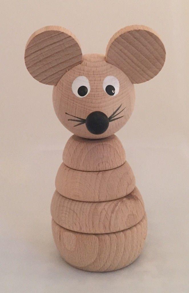 Bygg-opp mus naturlig treverk | Bambusbarna nettbutikk bambus økologisk bomull barneklær leker