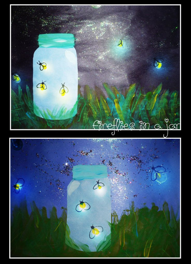 More Toddler Art from my daycare. This was a collaborative effort. We used glow in the dark paint for the fireflies light.