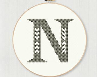 Cross stitch letter S pattern with chevron di LittleHouseBliss