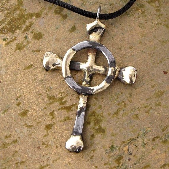 Celtic Cross Necklace Horseshoe Nails  Rustic by BradGoodell2, $32.00