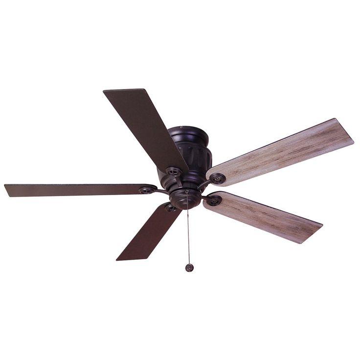 Fanimation Studio Collection Berkeley 48-in Black Iron Flush Mount Indoor/Outdoor Ceiling Fan